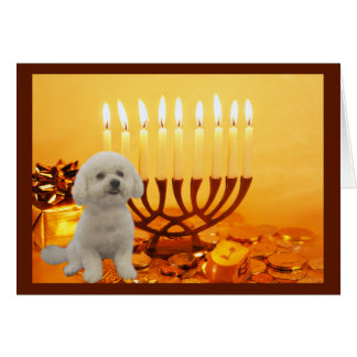 Bichon Frise Chanukah Card Menorah