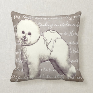 Bichon Frise Illustration Pillow