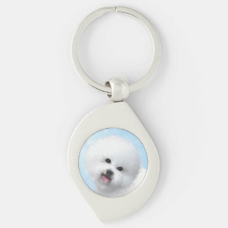 Bichon Frise Painting - Cute Original Dog Art Key Ring