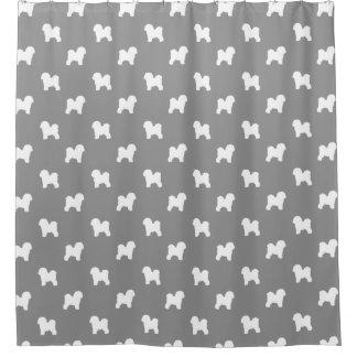 Bichon Frise Silhouettes Pattern Grey Shower Curtain