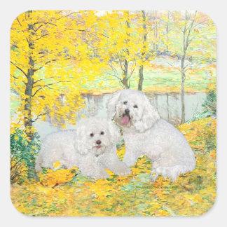 Bichon Frise Yellow Wood Square Sticker