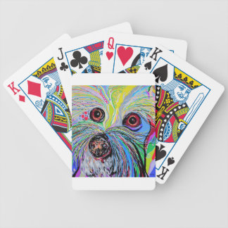 Bichon in Blue Tones Bicycle Playing Cards