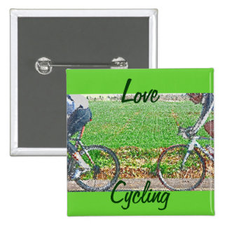Bicycle Art 2 Cyclists and Green Background Pins