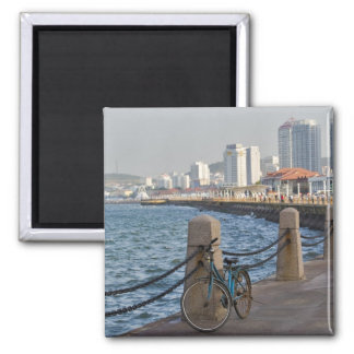 Bicycle at waterfront with Yantai city skyline, Square Magnet