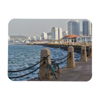 Bicycle at waterfront with Yantai city skyline, Rectangular Photo Magnet