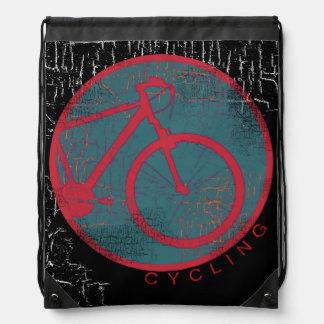 bicycle - biking + bike drawstring bag