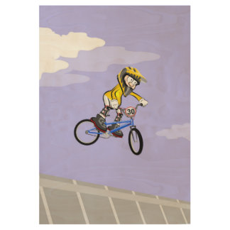 Bicycle BMX a jump to the emptiness by far style Wood Poster