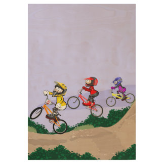 Bicycle BMX being incumbent on at maximum speed Wood Poster