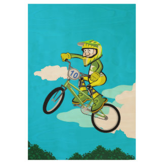 Bicycle BMX flying in the air Wood Poster