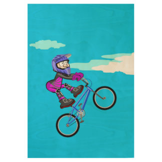 Bicycle BMX giving a great jump in the air Wood Poster
