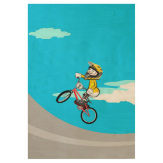 Bicycle BMX in the incline at a high speed Wood Poster