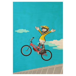 Bicycle BMX stopped in the air without taking hold Wood Poster