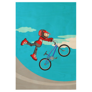 Bicycle BMX walking in the air Wood Poster