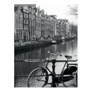 Bicycle by Canal Postcard