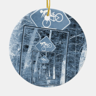 Bicycle Caution Traffic Sign Round Ceramic Decoration