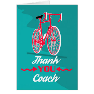 Bicycle Coach Thank You, Modern Design, Card