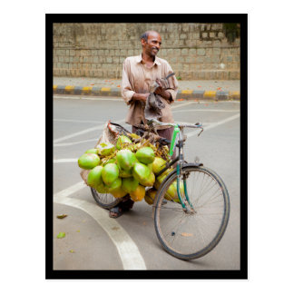 Bicycle Coconut Seller Postcard