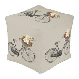 bicycle flower bike cute decor pouf taupe