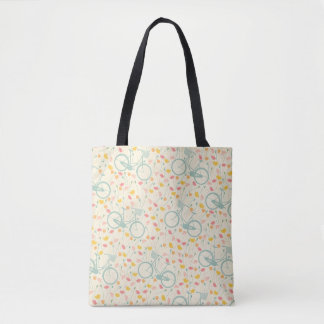 Bicycle Flowers Watercolor Pattern Tote Bag