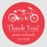 Bicycle For Two Thank You Labels (Red) Round Sticker