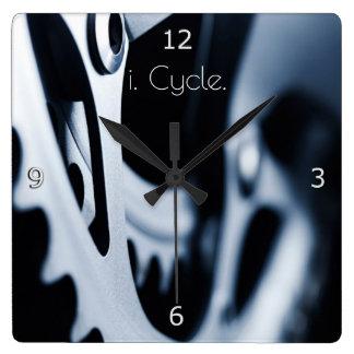 Bicycle gears and i. Cycle. text Wallclocks