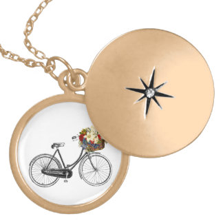 Bicycle Lover's Gold Finish Round Locket