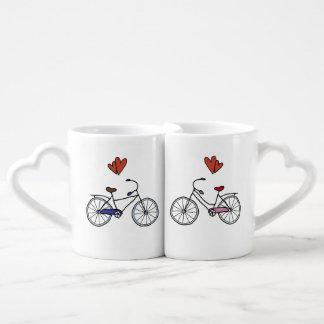 Bicycle Lovers Nesting Heart Mugs