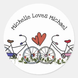 Bicycle Lovers Valentine Classic Round Sticker