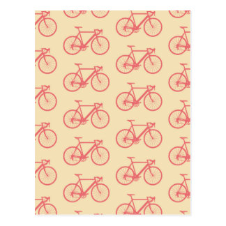 Bicycle Modern Silhouette Coral and Ivory Pattern Postcard