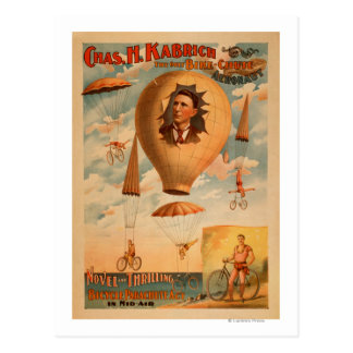 Bicycle Parachute act in mid-air Theatre Postcard