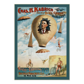 Bicycle Parachute Act ~ Vintage Performance Poster