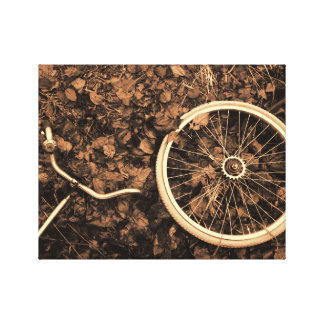 Bicycle parts with autumn leaves gallery wrapped canvas