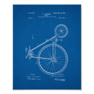 Bicycle Patent - Blueprint Poster