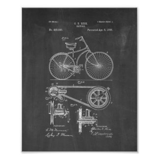 Bicycle Patent - Chalkboard Poster