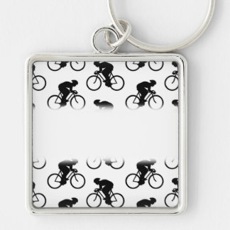 Bicycle Pattern in Black and White. Key Ring