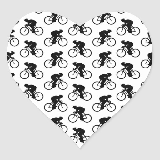 Bicycle Pattern in Black and White. Heart Sticker