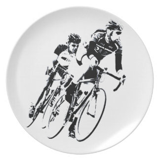 Bicycle Racers into the Turn Plate