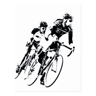 Bicycle Racers into the Turn Postcard