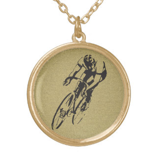 Bicycle Racing Gold Plated Necklace