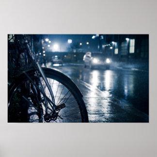 bicycle rainy street wall print poster