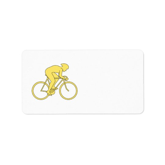Bicycle Rider in Yellow. Address Label