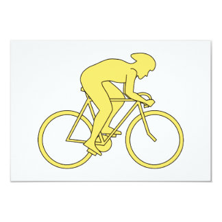Bicycle Rider in Yellow. Card