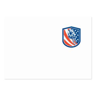 Bicycle Rider USA Flag Shield Retro Business Card