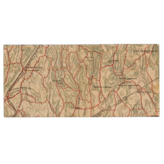 Bicycle Roads in New York and Conneticut Wood USB 2.0 Flash Drive