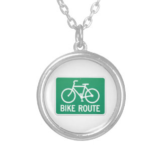 Bicycle Route Sign Round Pendant Necklace