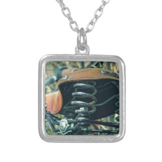 Bicycle Saddle Silver Plated Necklace