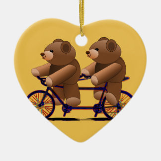 Bicycle Tandem, Teddy Bear Print Ceramic Heart Decoration