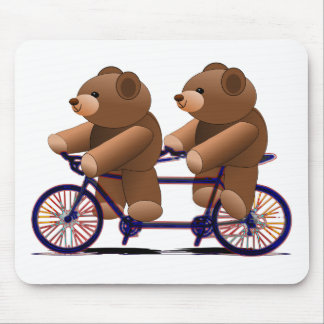 Bicycle Tandem, Teddy Bear Print Mouse Pad