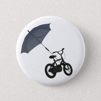 bicycle + umbrella 6 cm round badge