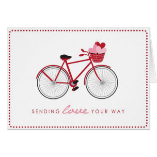Bicycle Valentine's Day Card with Hearts